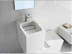 The Washbasin + Watercloset designed by Roca Innovation Labs saves water by using the used wastewater from the sink to flush the toilet. According to a 2011 study of single-family daily water use, toilet flushing accounted for 21.40 percent (37.31 gallons) of total indoor use each day while washing clothes accounted for 17.56 percent (30.61 gallons). (Photo courtesy of Roca)