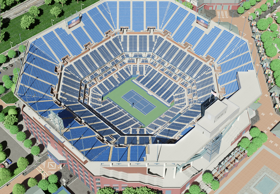 A rendering of what Arthur Ashe Stadium looked like before construction of the roof began in 2013. Courtesy of USTA.