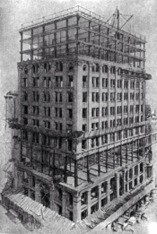 Chicago's steel-framed Home Insurance Building under construction.