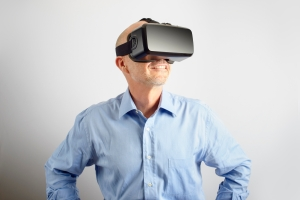 Professional Man Wearing Virtual Reality Headset